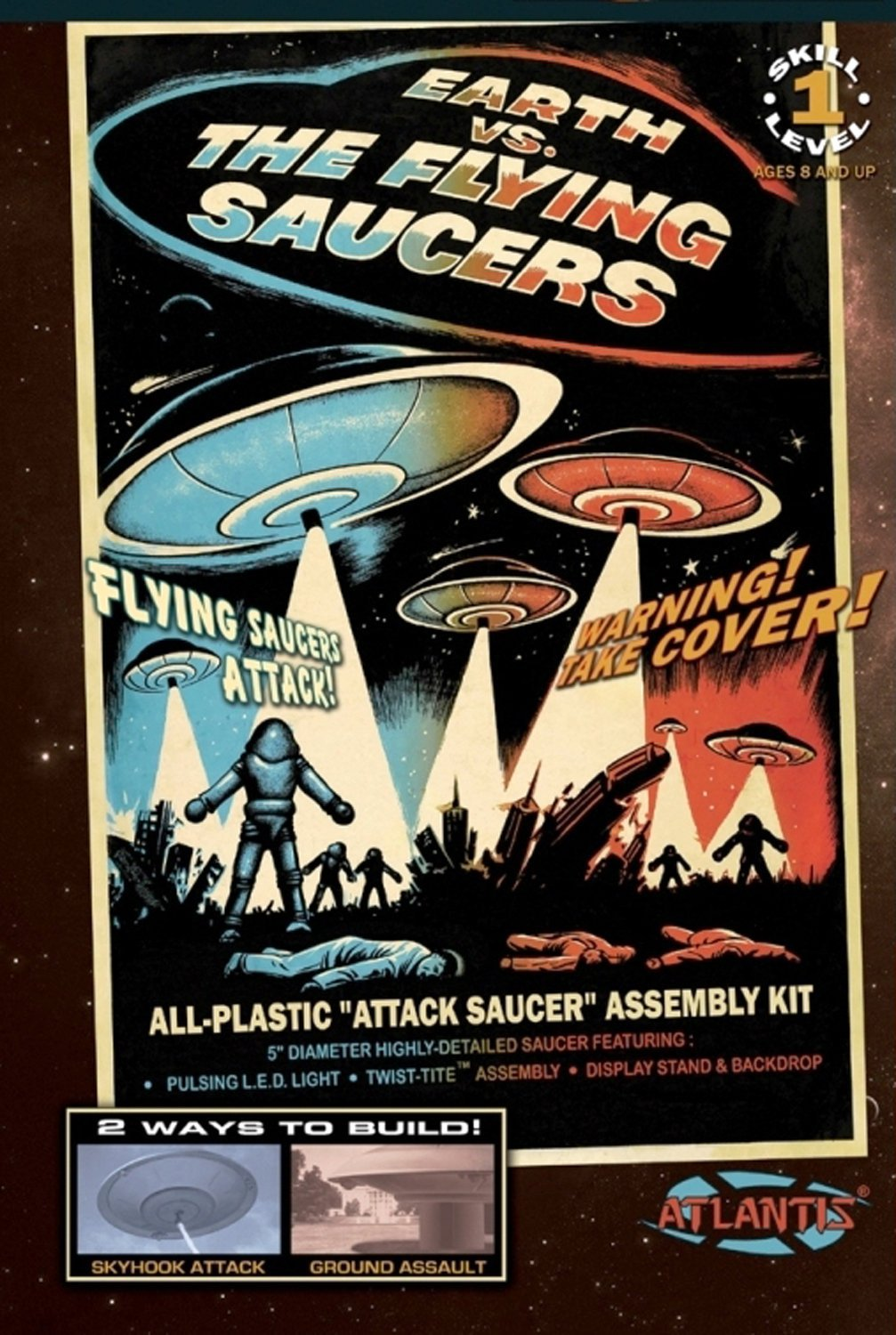 Earth vs The Flying Saucers UFO 2nd Edition 5-Inch Model Kit with Light Atlantis Toy and Hobby AMC1005S