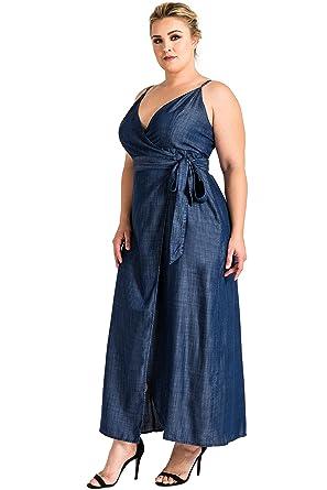 0e32cfae02 Standards   Practices Plus Size Women s Denim Spaghetti Strap Maxi Wrap  Dress ...