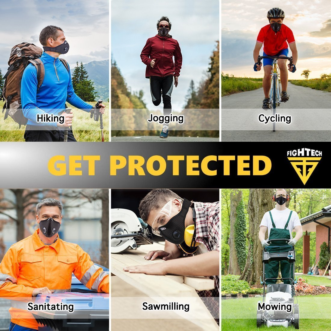 Anti-Pollution Dustproof/Dust Mask with 2 Valves and 4 Activated Carbon N99 Filters. Filtration of Exhaust Gas, Pollen Allergy and PM2.5. Cycling Face Mask for Outdoor Activities by FIGHTECH (BLK) by FIGHTECH (Image #7)