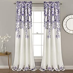 "Lush Decor Tanisha Curtains | Room Darkening Floral Vine Print Design Window Panel Set (Pair), 84"" x 52"" -Purple and Gray, 84"" x 52"", Purple & Gray"