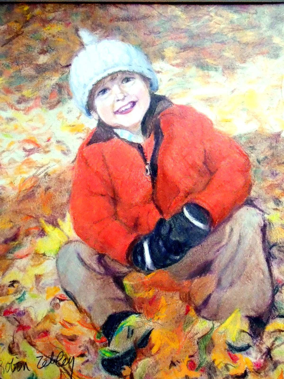 Custom Portrait of Child, Drawing in Colored Pencil by Artist Robin Zebley