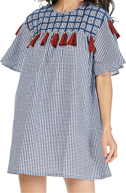 Lokouo Elegant Women Embroidery Tassel Plaid Loose Long Flare Sleeve Oversized Ladies Casual Blouses Blusas