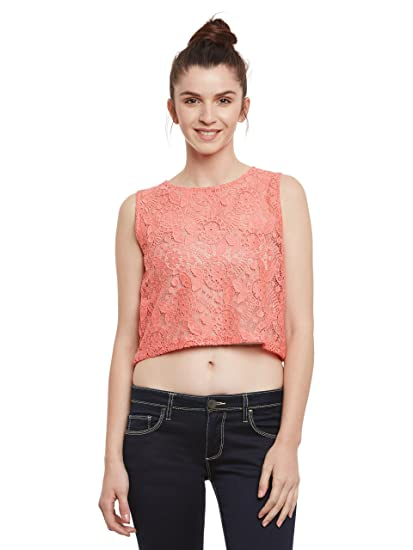 57e64748720910 Miss Chase Womens Coral Lace Crop Top(MCSS17TP08-16-25-04 Coral Medium)