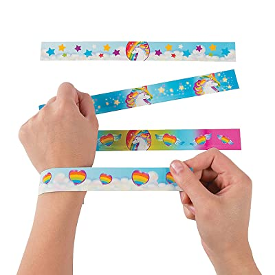 Fun Express Unicorn Metal Slap Bracelets - 12 Pieces: Toys & Games