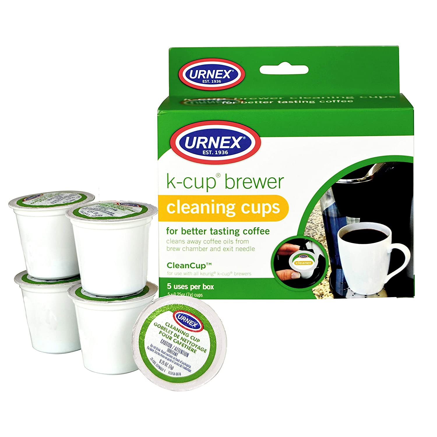 Urnex K-Cup Cleaner - 5 Cleaning Cups - For Keurig Machines Compatible with Keurig 2.0 - Removes Stains Non Toxic