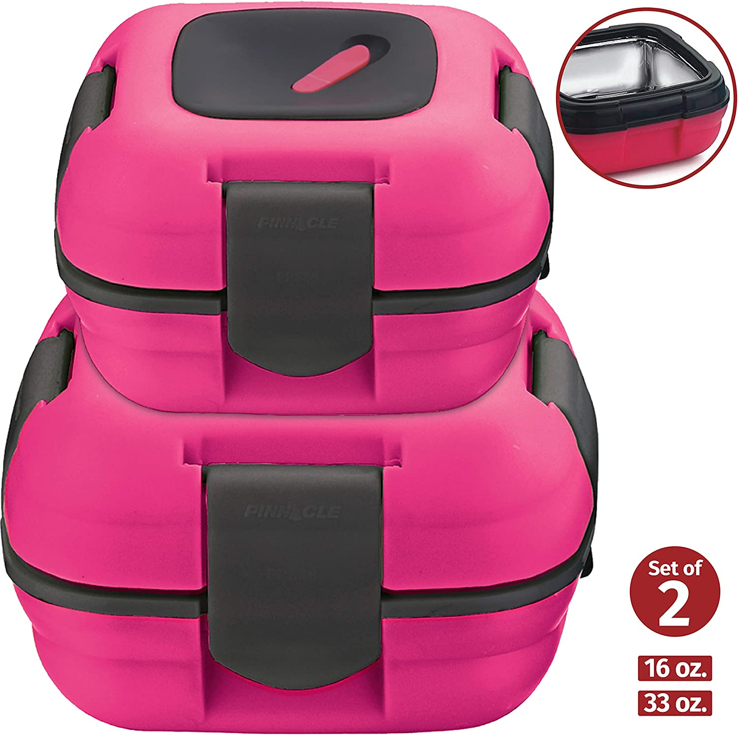 Lunch Box ~ Pinnacle Insulated Leak Proof Lunch Box for Adults and Kids - Thermal Lunch Container With NEW Heat Release Valve ~Set of 2/2 Sizes~ Pink