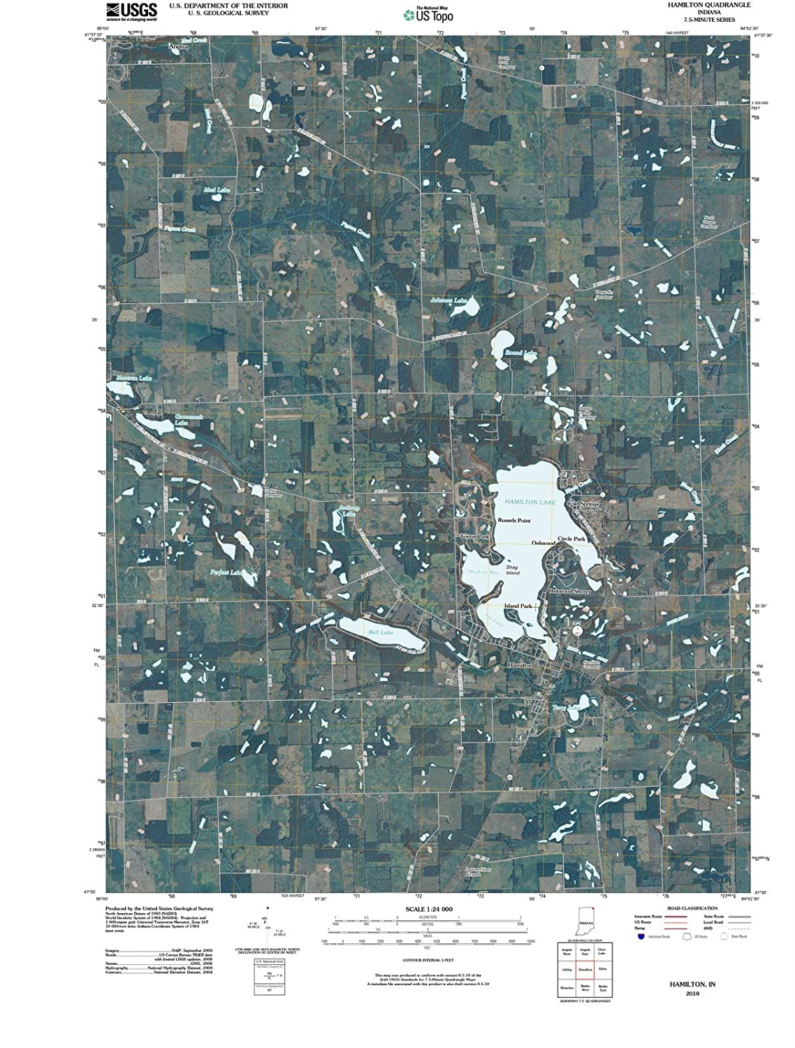Hamilton Lake Indiana Map.Amazon Com Indiana Maps 2010 Hamilton In Usgs Historical