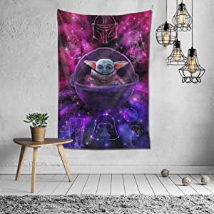 WQOIEGE S-t-a-r War Cute Baby Yodas Mand-alorian Blanket Tapestry Wall Hanging 60x40 Inches Soft Durable Skin-Friendly Modern Style Home Decor Wall Hanging for Living Room Bedroom Dorm Bedspread