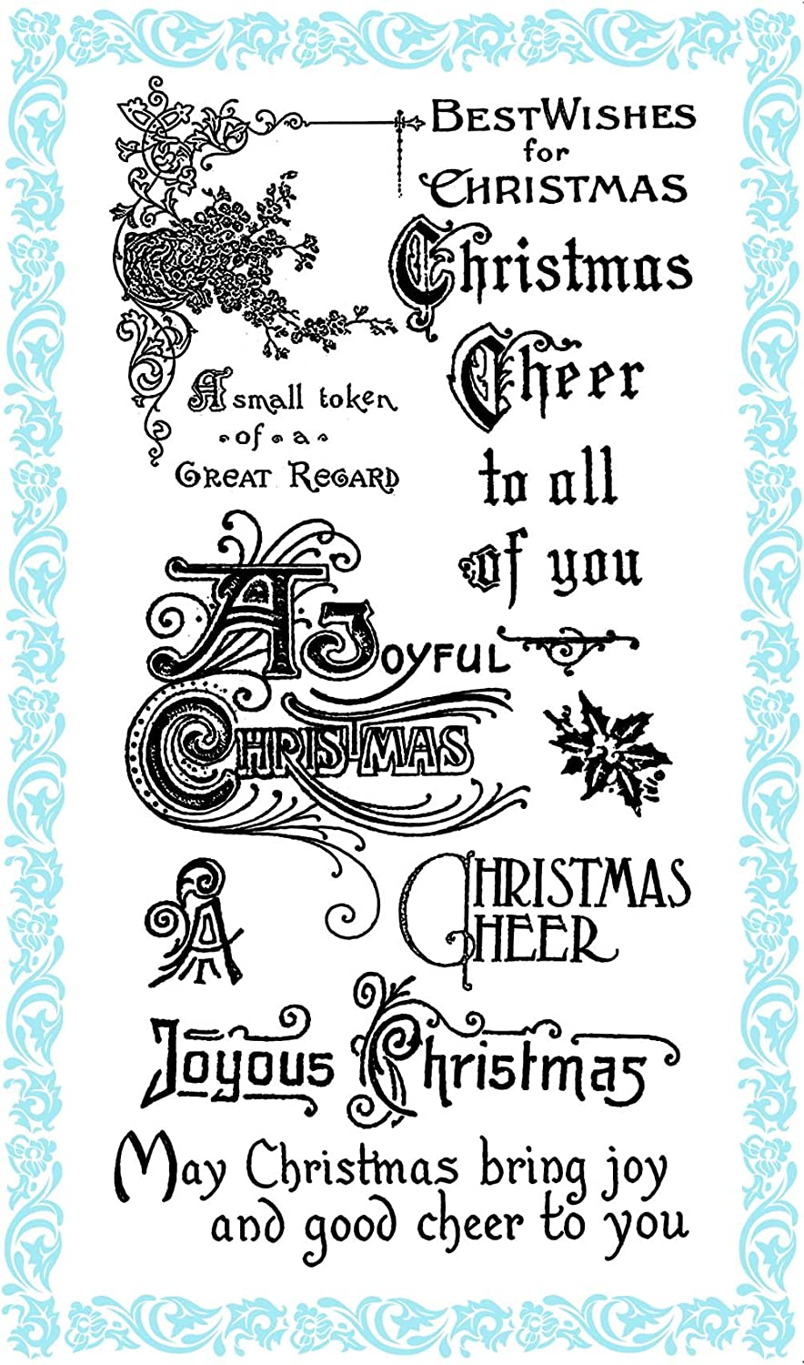 4x7 Christmas Greetings FLONZ Christmas Cheer  Clear stamps pack