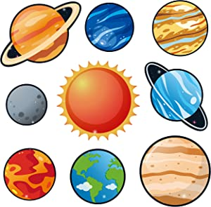 BeYumi 45Pcs Solar System Cutouts 9 Planets Galaxy Wall Decal Educational Material Removable Wall Stickers Outer Space Decor for Bedroom Nursery Classroom Bulletin Board Displays Universe Theme Party