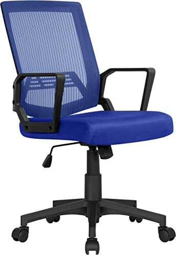 Yaheetech Ergonomic Office Chair Mid-Back Mesh Desk Chair Height Adjustable Computer Chair w/ 360 Rolling Casters and Armrest