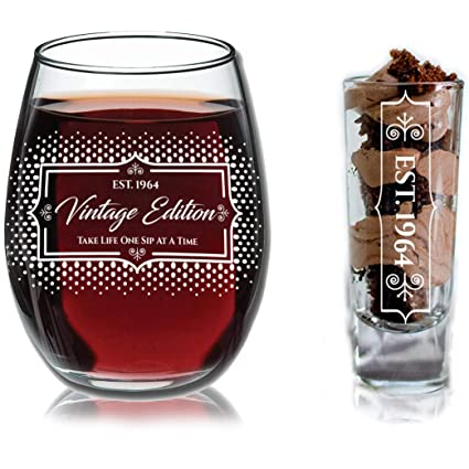 1964 55th Birthday Gifts Under 10 For Women And Men Wine Glass