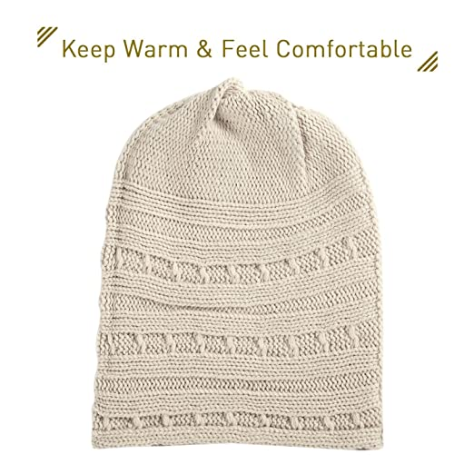 Zodaca Unisex Winter Baggy Thick Slouchy Patterned Warm Cable Knit Hat  Skull Cap for Men and b261917d575