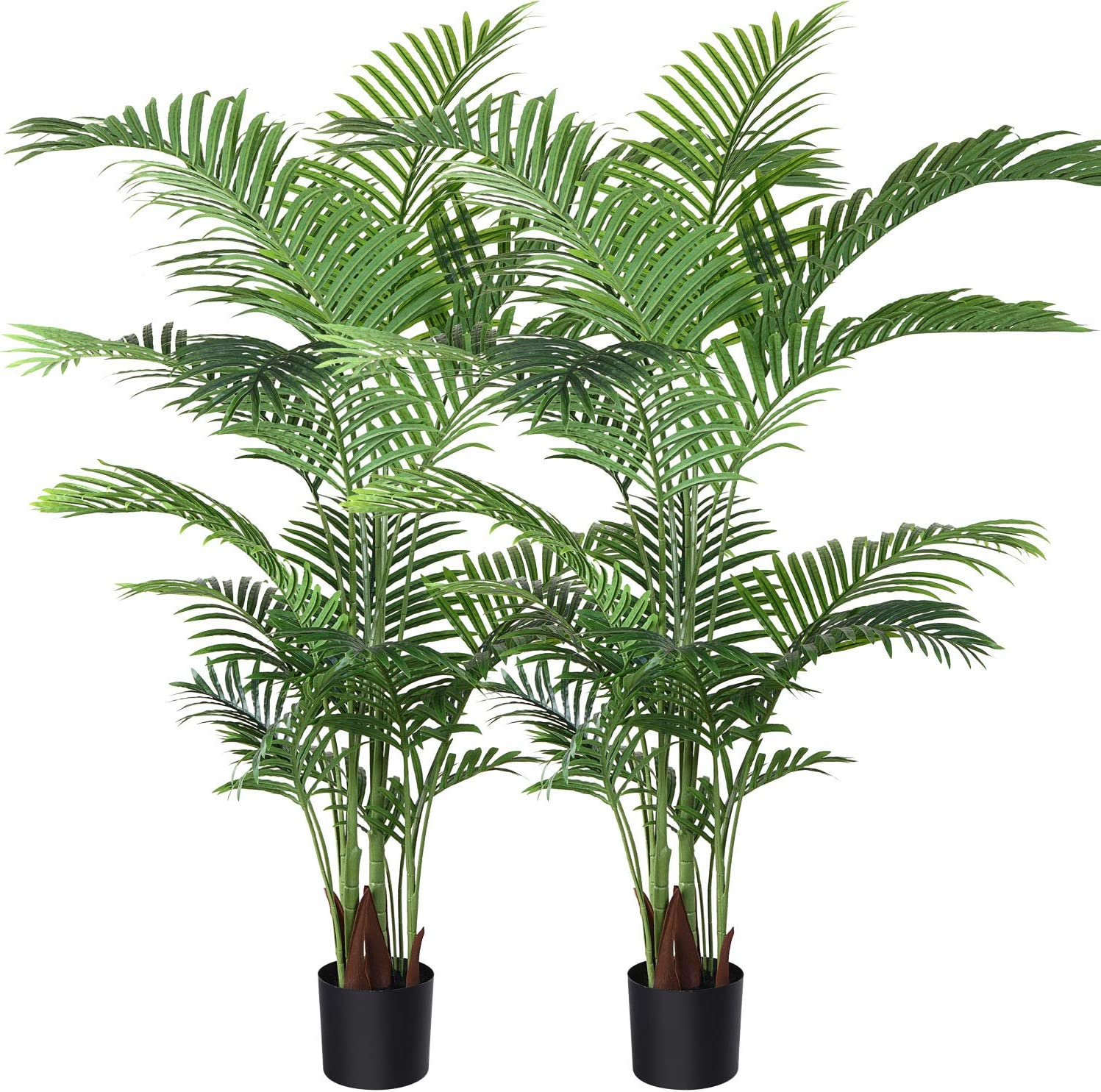 Fopamtri Artificial Areca Palm Plant 5 Feet Fake Palm Tree with 17 Trunks Faux Tree for Indoor Outdoor Modern Decoration Feaux Dypsis Lutescens Plants in Pot for Home Office,2 Pack