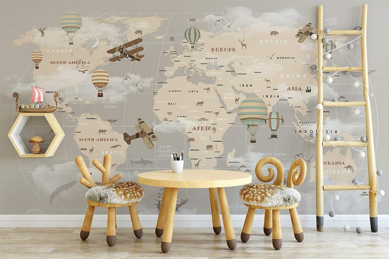 Amazon Com Murwall Kids Map Wallpaper For Child Beige World Map