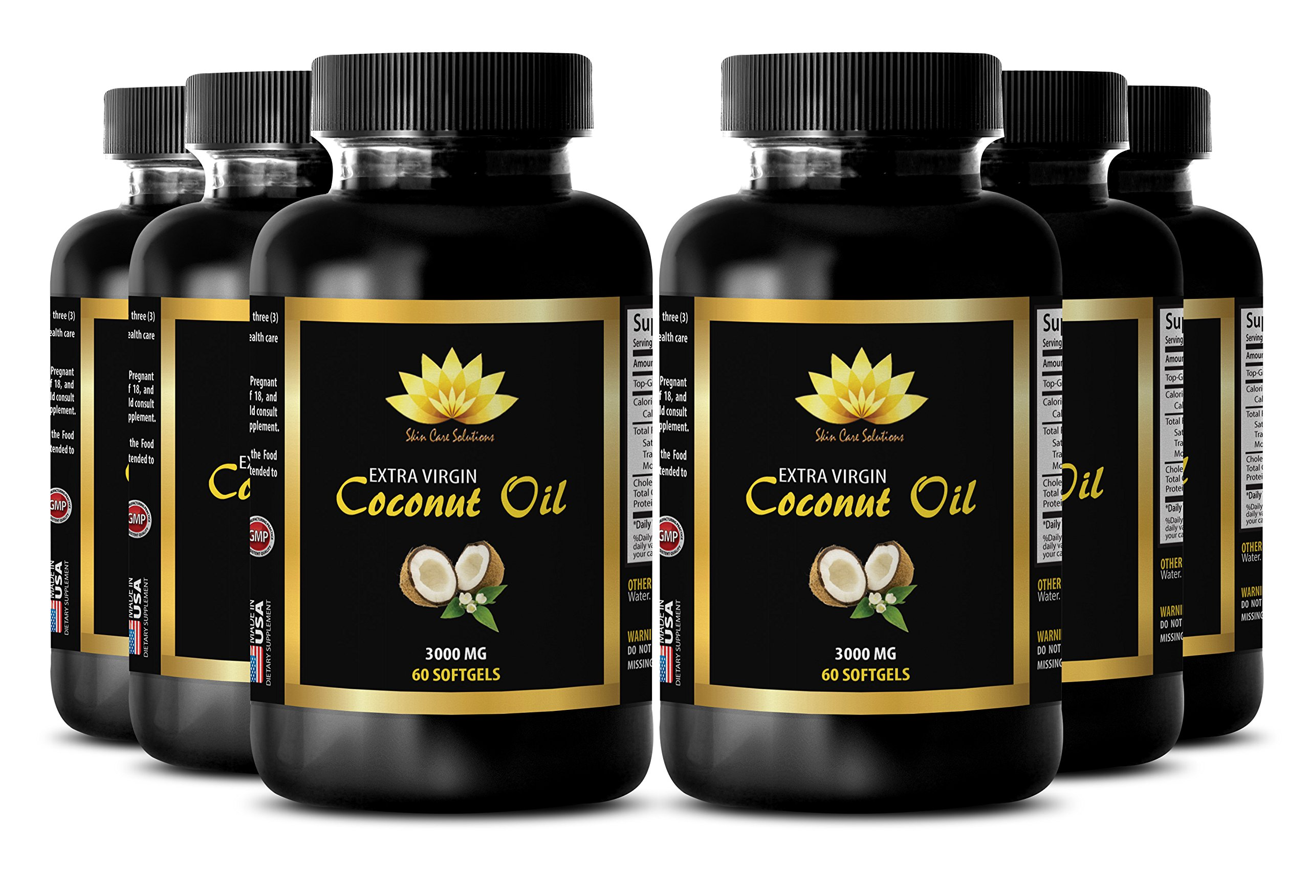 Memory supplements - EXTRA VIRGIN COCONUT OIL 3000 MG - Boost memory - 6 Bottles 360 Softgels