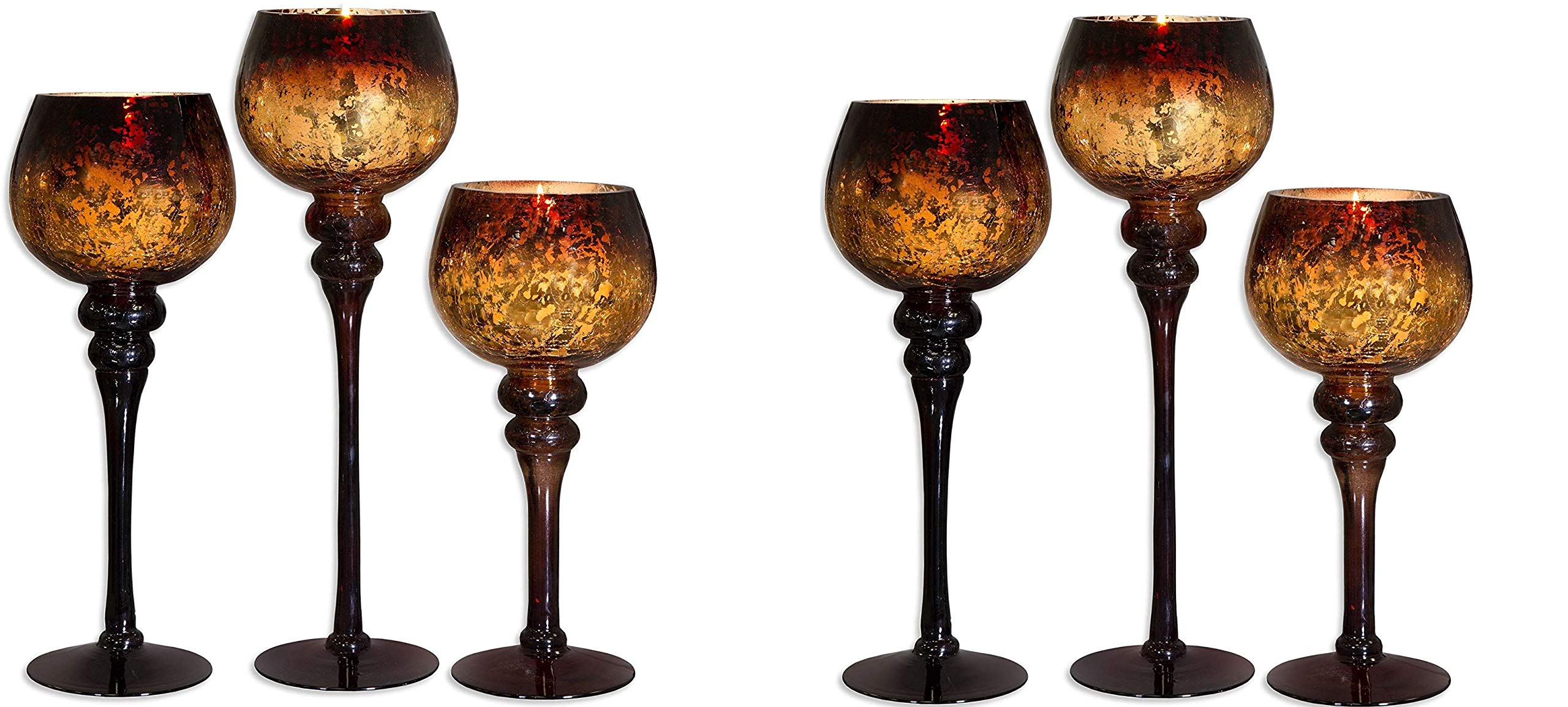 Home Essentials Mercury Chocolate Hurricanes Candle Holders, Set of 3 (Pack of.2)