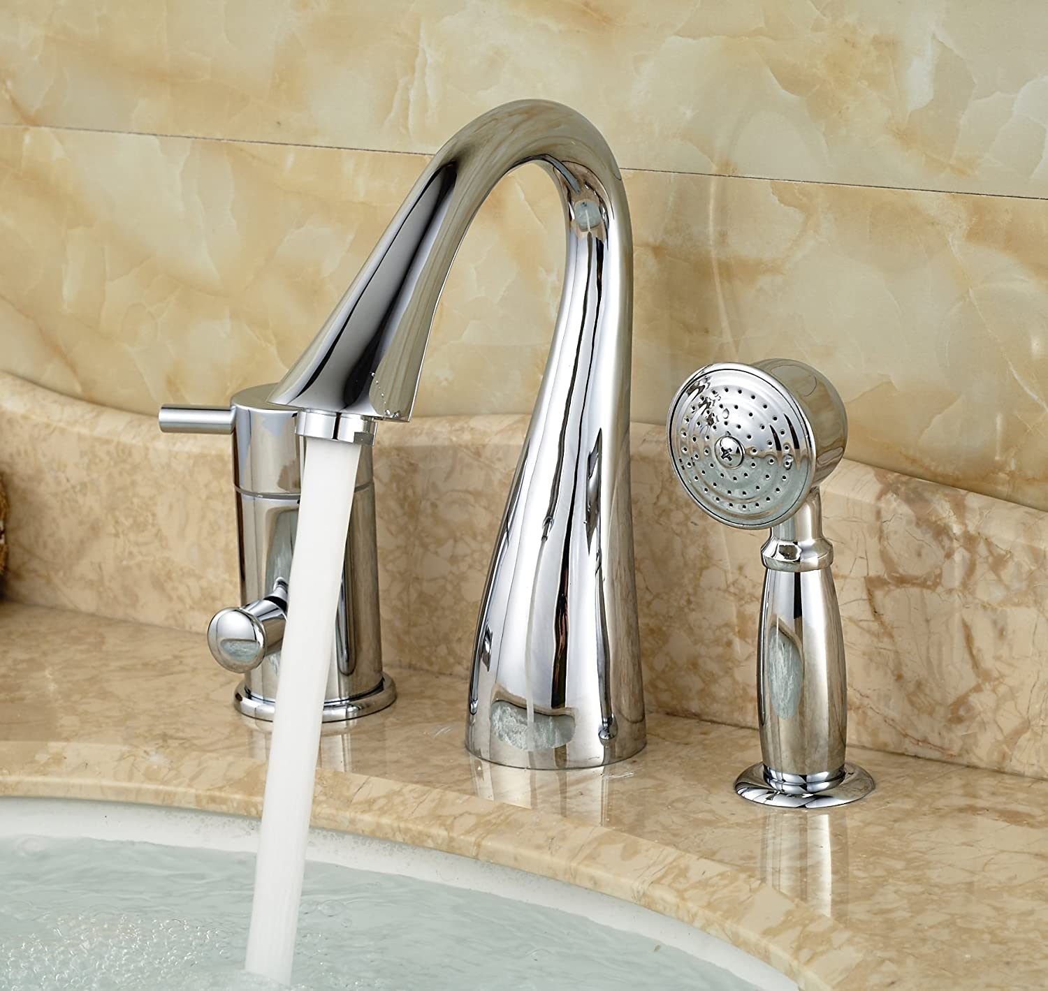 Rozin Deck Mount 3 Holes Bathtub Faucet Single Lever Mixer with ...