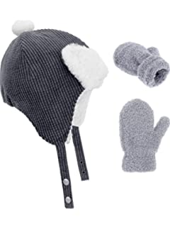 cc951755d8d BOAO 3 Pieces in Total Boys Girls Lined Fleece Hat Knit Cap Baby Mitten  Gloves Set