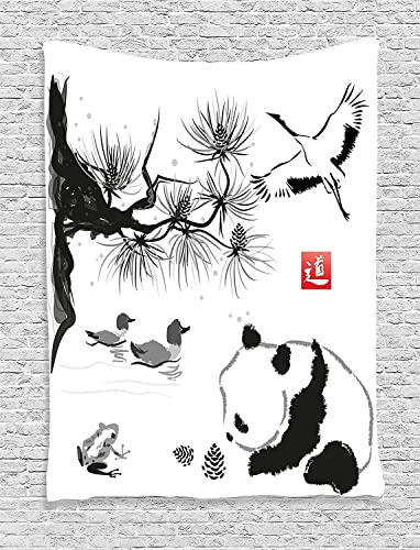 Ambesonne Asian Tapestry, Bird Cedar Panda Bear Traditional Japanese Painting Style Art Hieroglyph Way, Wall Hanging for Bedroom Living Room Dorm Decor, 40 X 60 , Black Coral
