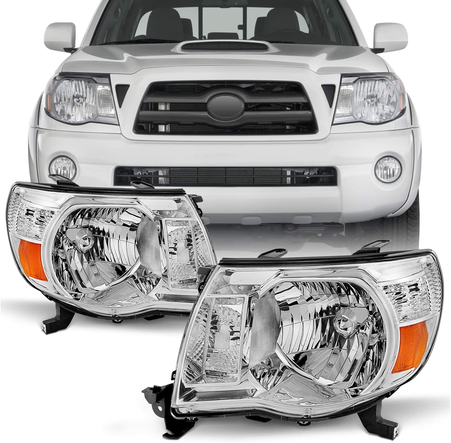 Headlights Assembly for 05-11 Toyota Tacoma Pickup Truck Headlight Assembly OE Style Replacement Chrome Housing Amber Reflector
