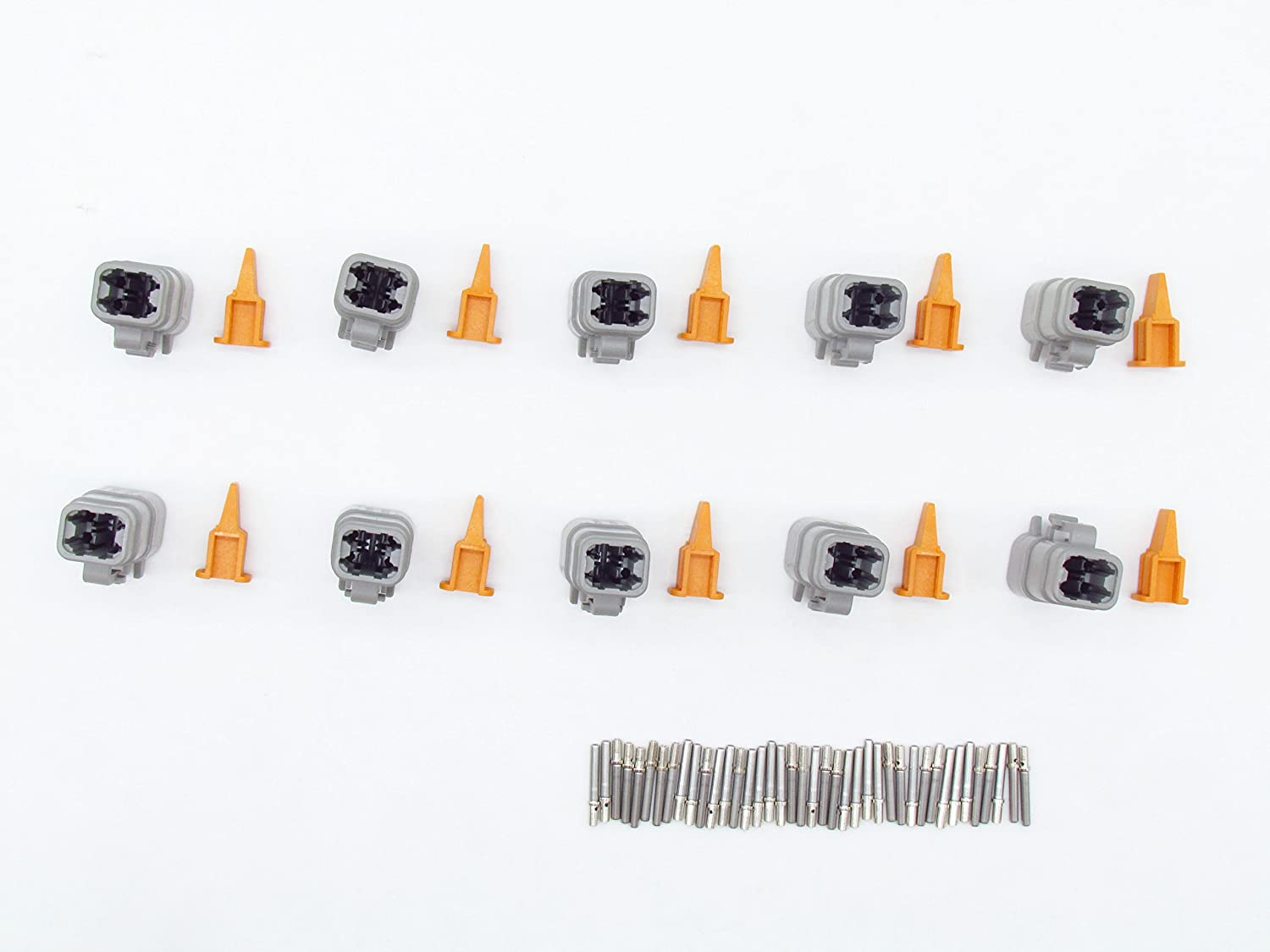 CNKF 10 Sets DTM gray PLUG 4 position way female auto connector DTM06-4S ATM06-4S with terminals pins