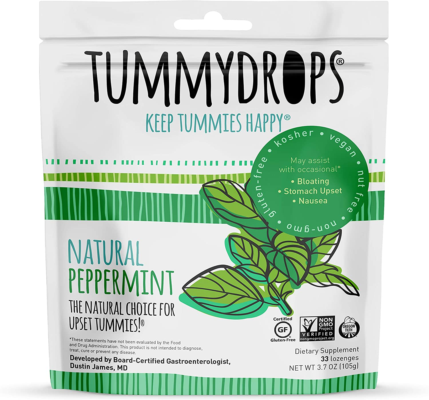 Natural, Organic Peppermint Tummydrops