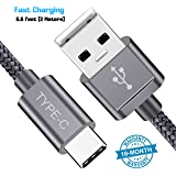 Mystical Master USB Type C Fast Charging 6.6 ft USB A to C Nylon Braided Long Cable Compatible with Xiaomi, OnePlus, Motorola, Nokia, Xiaomi, Honor, Samsung, Oppo, Vivo (Grey)