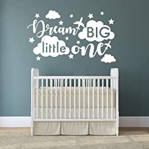 Quote Wall Decal, Dream Big Little One Decal, Baby Room Decor, Quote for Kids, Baby Boy Room DecorPlane Decal, Cloud and Star Decal, Wall Decals Nursery(Y40) (Large, White)