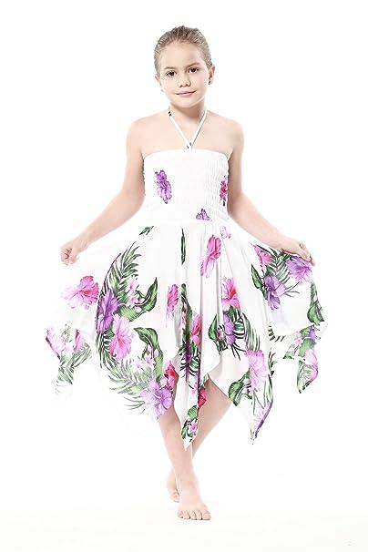 Niña gitano Botón desigual Hawaiian Luau vestido en Blanco con Rosa y Floral Púrpura 4