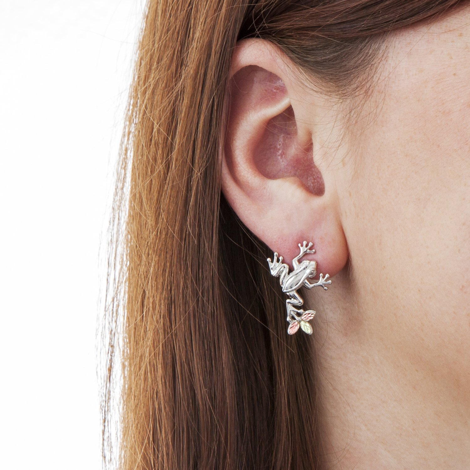 Petite Frog Design Earrings, Sterling Silver, 12k Green and Rose Gold Black Hills Gold Motif by Black Hills Gold Jewelry (Image #3)