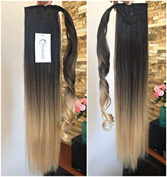 Amazoncom 22 Inches Long Straight Ombre Wrap Around Ponytail