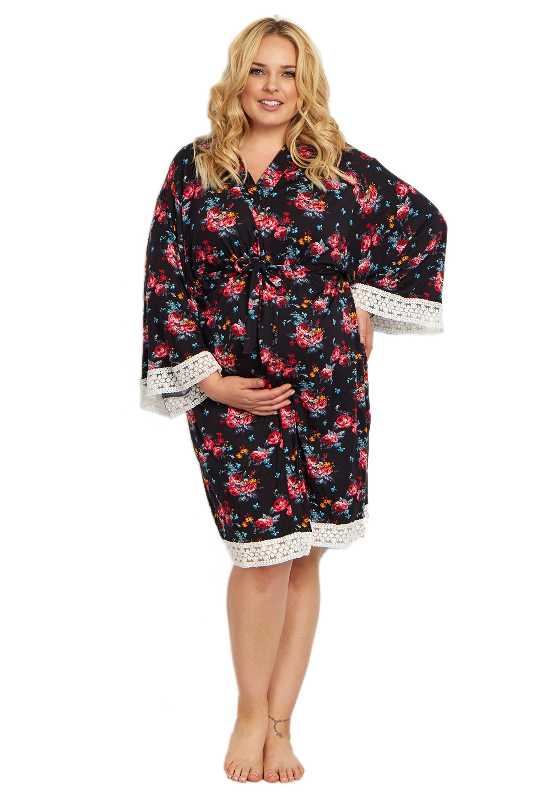PinkBlush Maternity Black Floral Lace Trim Plus Size Delivery/Nursing Maternity