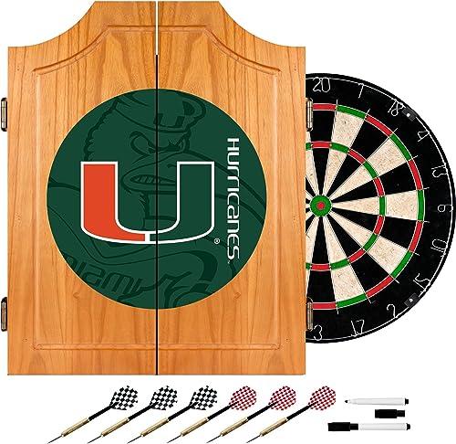 Trademark Gameroom University of Miami Wood Dart Cabinet Set