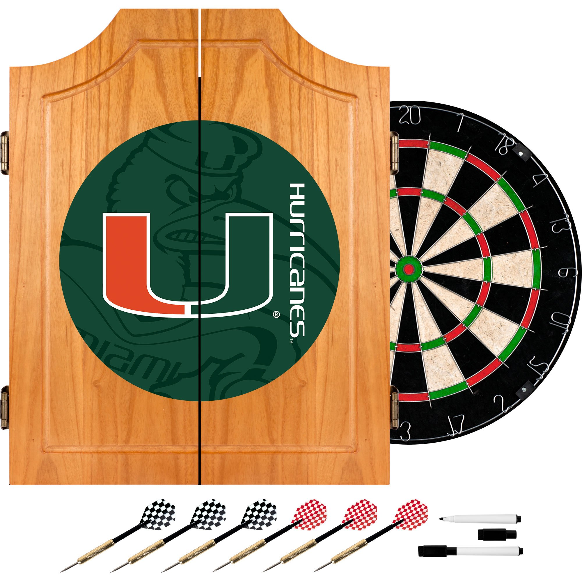 Trademark Gameroom University of Miami Wood Dart Cabinet Set - Fade
