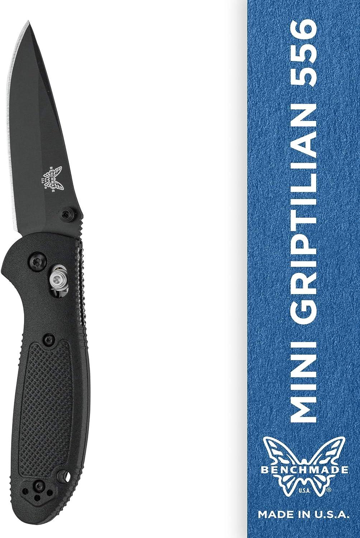 Benchmade – Mini Griptilian 556 EDC Manual Open Folding Knife Made in USA with CPM-S30V Steel, Drop-Point Blade, Plain Edge, Coated Finish, Black Handle