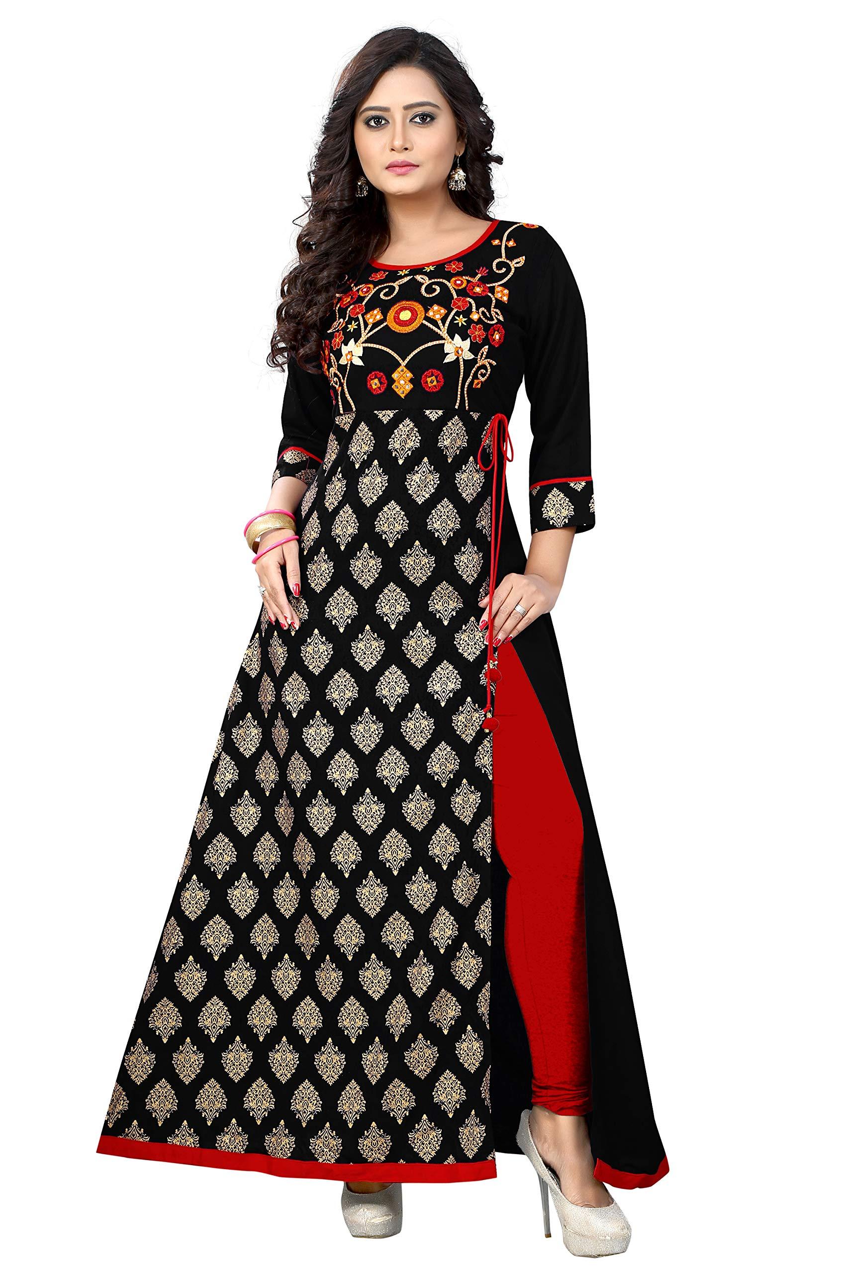 ziya Readymade Cotton Long Women Dress Kurti for Women Formal & Party Wear 96 (Black, 42)