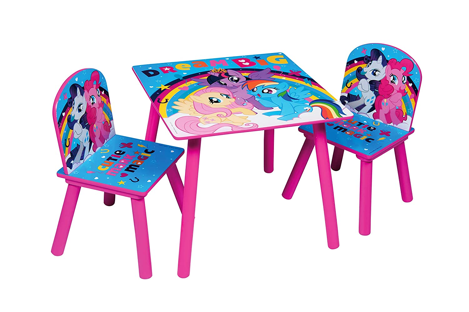 Global Industry Mon Petit Poney 44407-S Table/2 Chaises, MDF, Rose
