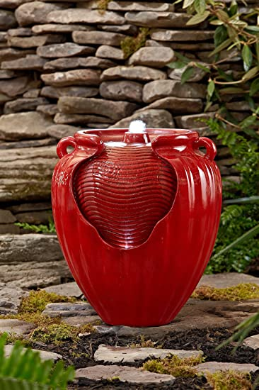 Essential Garden Glazed Pot Fountain, Red