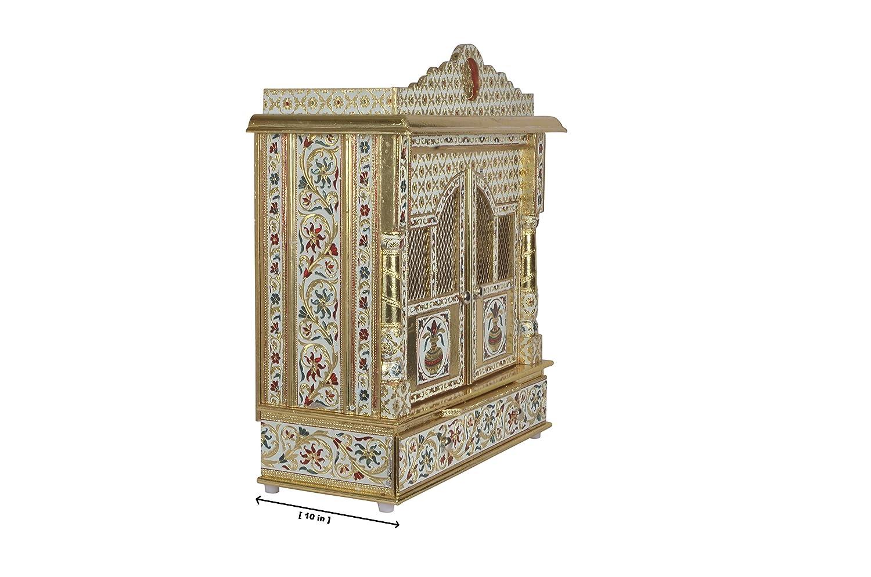 Amazon.com: Premium Meenakari Gold Home Pooja Mandir with Doors 19 ...