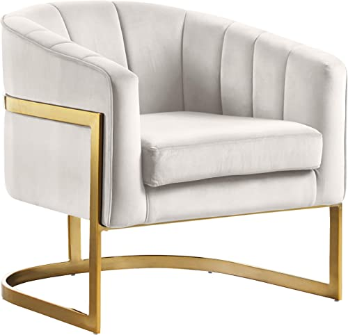 Meridian Furniture Carter Collection Modern | Contemporary Upholstered Velvet Barrel Accent Chair