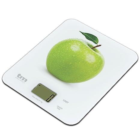 Tm Electron TMPBS021 Báscula Digital de Cocina Ultra Delgada con diseño de Manzana, Pantalla LCD