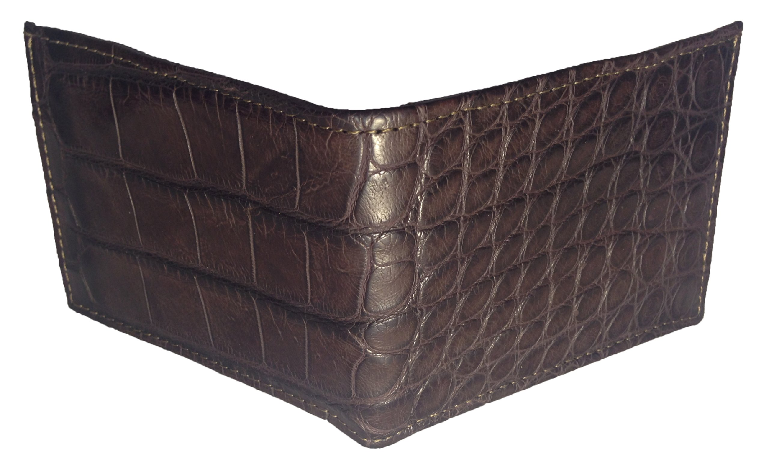 Sultan Genuine Alligator Men's Bifold Wallet - Brown Safari (Semi-Gloss) - One Size