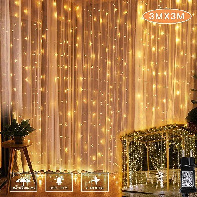 YINUO LIGHT Cortina Luces, 3m x 3m 300 LED Cadena de Luces Blanco cálido, 8 Modos Luz, IP44 Impermeable para decoración de dormitorio de jardín de fiesta de boda interior al aire