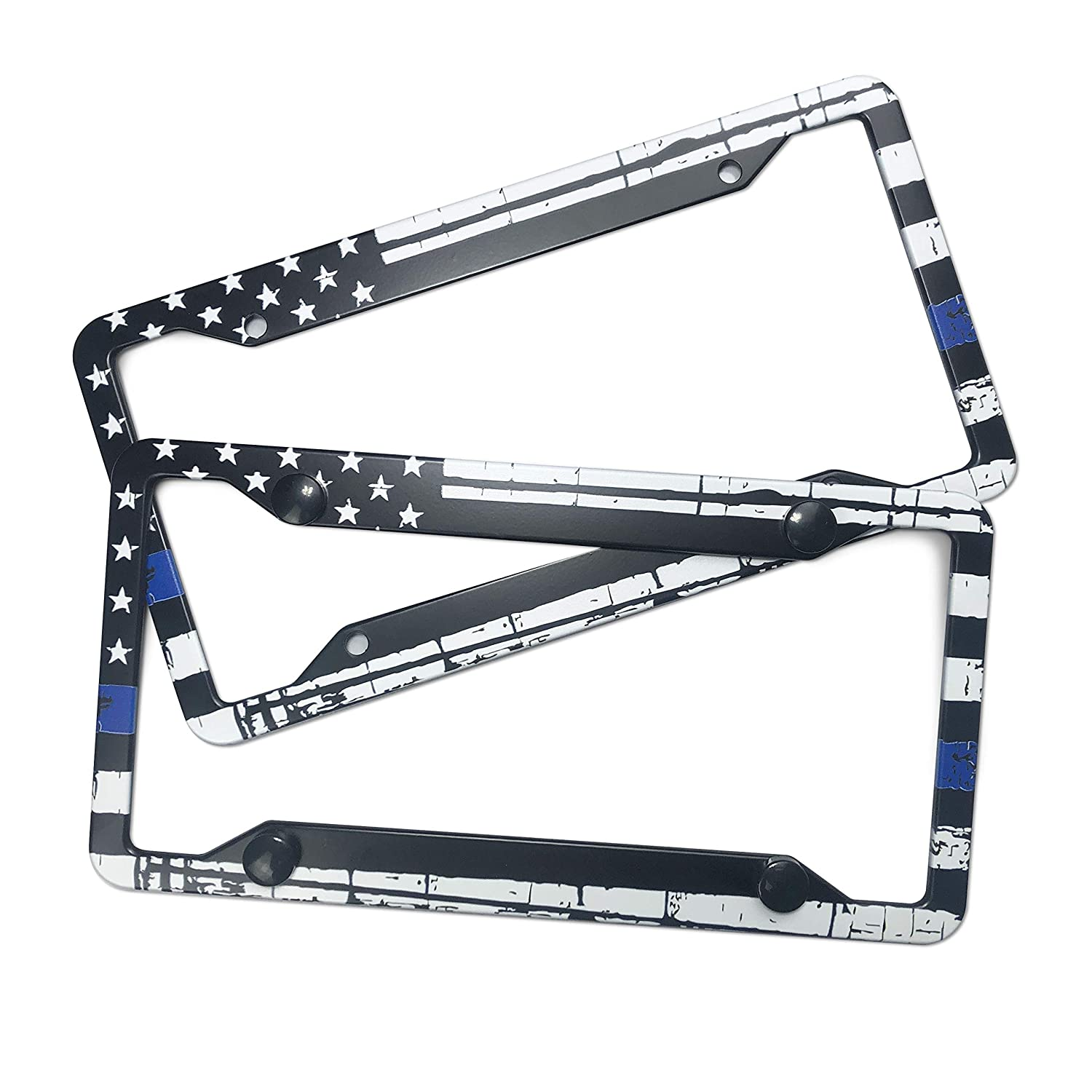 EXMENI Thin Blue Line American Flag License Plate Frames Set of 2 Aluminum Black on White Composite Tie Flag-Themed License Plate Frame Novelty Auto Car Tag Vanity Gift Support Law Enforcement