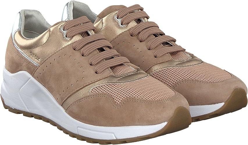 Geox Damenschuhe D724DA Phyteam Sportlicher Damen Sneaker, Wedgesneaker, Schnürhalbschuh mit verstecktem Keilabsatz im Schuh