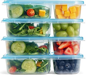 Fit & Fresh Meal Prep Container Set with Blue Lids, Set of 4, Portion Control, Microwave/Dishwasher/Freezer Safe
