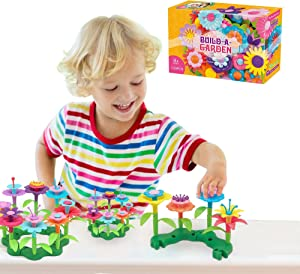 RO Flower Garden Building Toys for Girls - 109-Piece Build a Garden Educational Toy Playset Provides Loads of Hands On Entertainment While Encouraging Creativity - Toddler Gardening Set for Ages 3-7