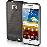 OneFlow Schutzhülle für Samsung Galaxy S2 / S2 Plus Hülle Silikon Case aus 1,5mm dünnem TPU | Zubehör Cover zum Handy Schutz | Handyhülle Bumper Tasche Gebürstet Aluminium Optik in Schwarz