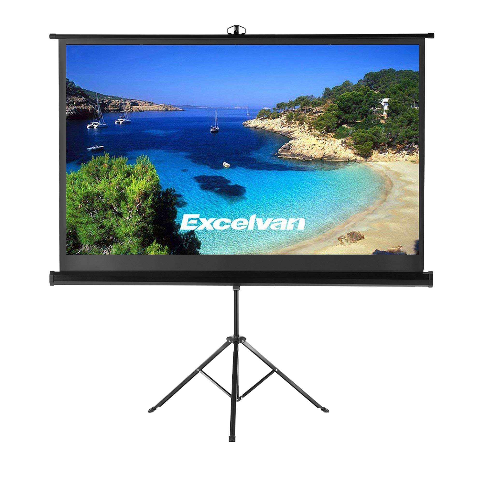 Projector Screen with Foldable Stand Tripod, Excelvan Portable Video HD Diagonal 16:9 Indoor Outdoor Screen Adjustable Wrinkle-Free Design for Home Cinema Movie Projection(100 inch) by Excelvan (Image #1)